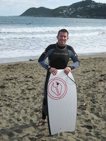 Boogie boarding at Lyall Bay