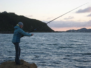 Surfcasting at Shelly Bay, Wellington
