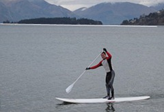 Stand up paddle boarding on Lake Wakatipu